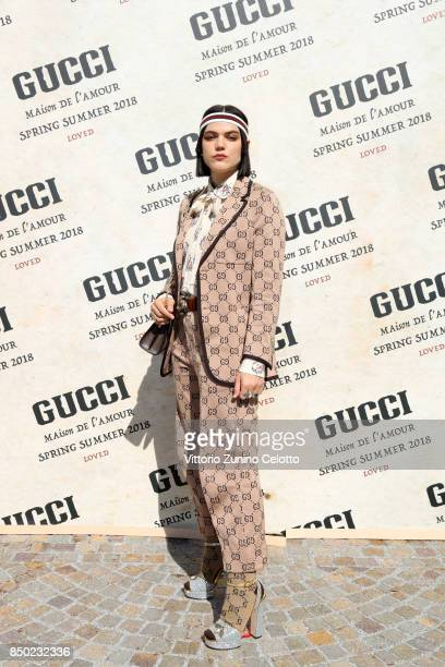 Soko arrives at the Gucci show during Milan Fashion Week Spring/Summer 2018 on September 20 2017 in Milan Italy