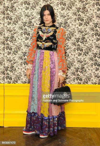 Soko attends Susan Chokachi and Linda Fargo host a private dinner to introduce Gucci Decor at BG Restaurant Bergdorf Goodman on September 6 2017 in...
