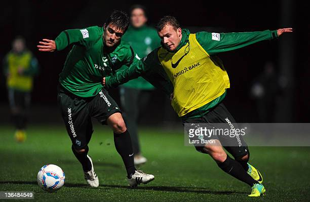Sokratis challenges Lennart Thy during a training session at day three of Werder Bremen training camp on January 6 2012 in Belek Turkey