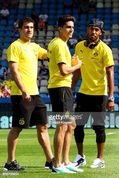 Sokratis Marc Bartra and PierreEmerick Aubameyang of Dortmund look on prior to the preseason friendly match between VfL Bochum and Borussia Dortmund...