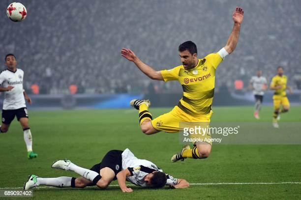 Sokratis of Borussia Dortmund in action against David Abraham of Eintracht Frankfurt during the DFB Cup Final 2017 soccer match between Eintracht...