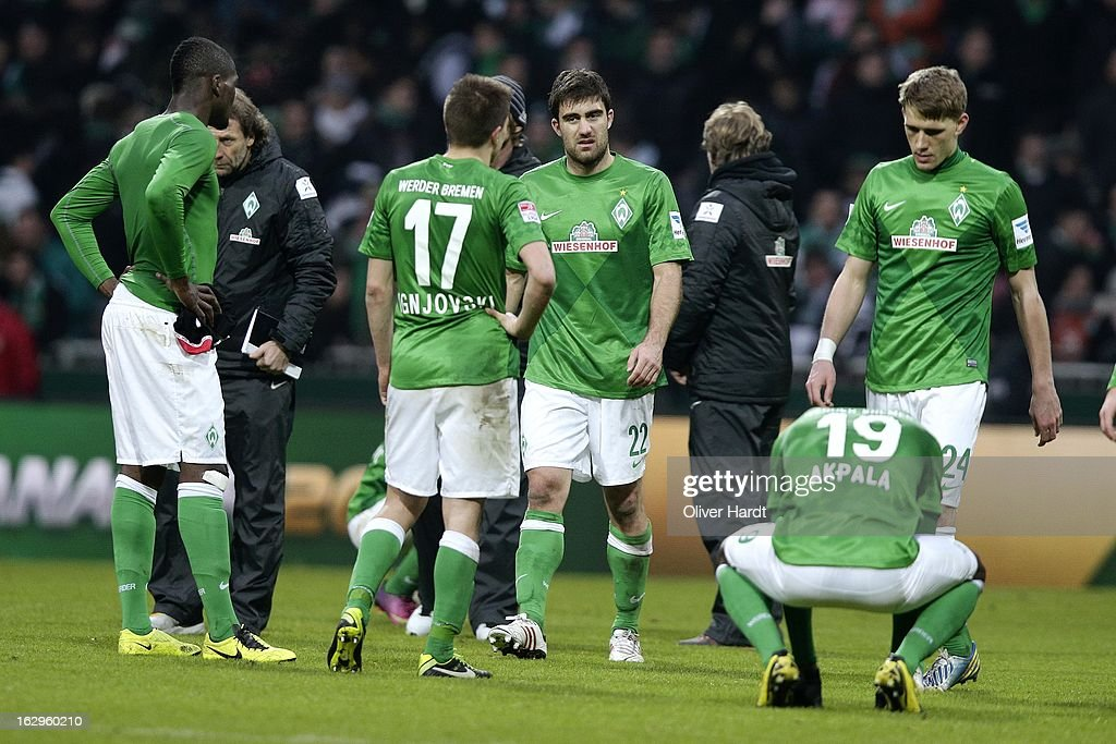 Sokratis (C) of Bremen frustration after the Bundesliga match between SV Werder Bremen and FC Augsburg at Weser Stadium on March 2, 2013 in Bremen, Germany.