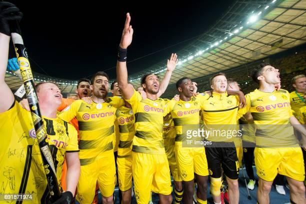 Sokratis of Dortmund PierreEmerick Aubameyang of Dortmund Ousmane Dembele of Dortmund Marco Reus of Dortmund and Marc Bartra of Dortmund celebrates...