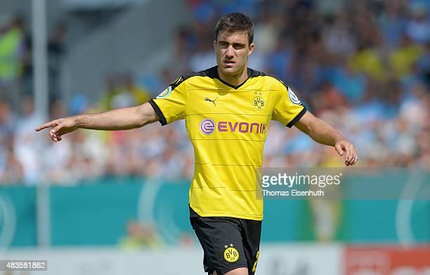 Sokratis of Dortmund reacts during the DFB Cup first round match between Chemnitzer FC and Borussia Dortmund at Stadion an der Gellertstrasse on...