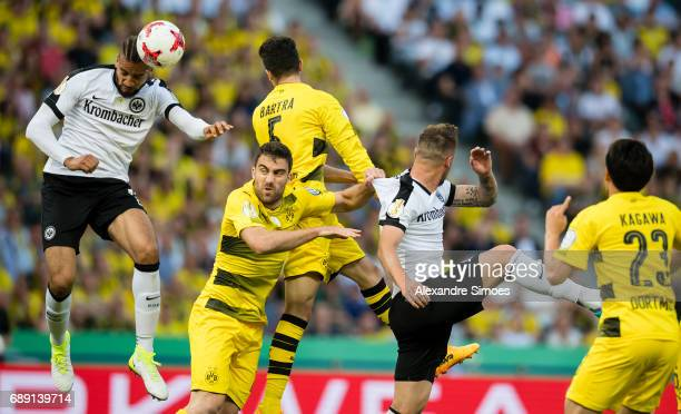 Sokratis Papastathopoulos and Marc Bartra of Borussia Dortmund in action the DFB Cup Final match between Eintracht Frankfurt and Borussia Dortmund at...