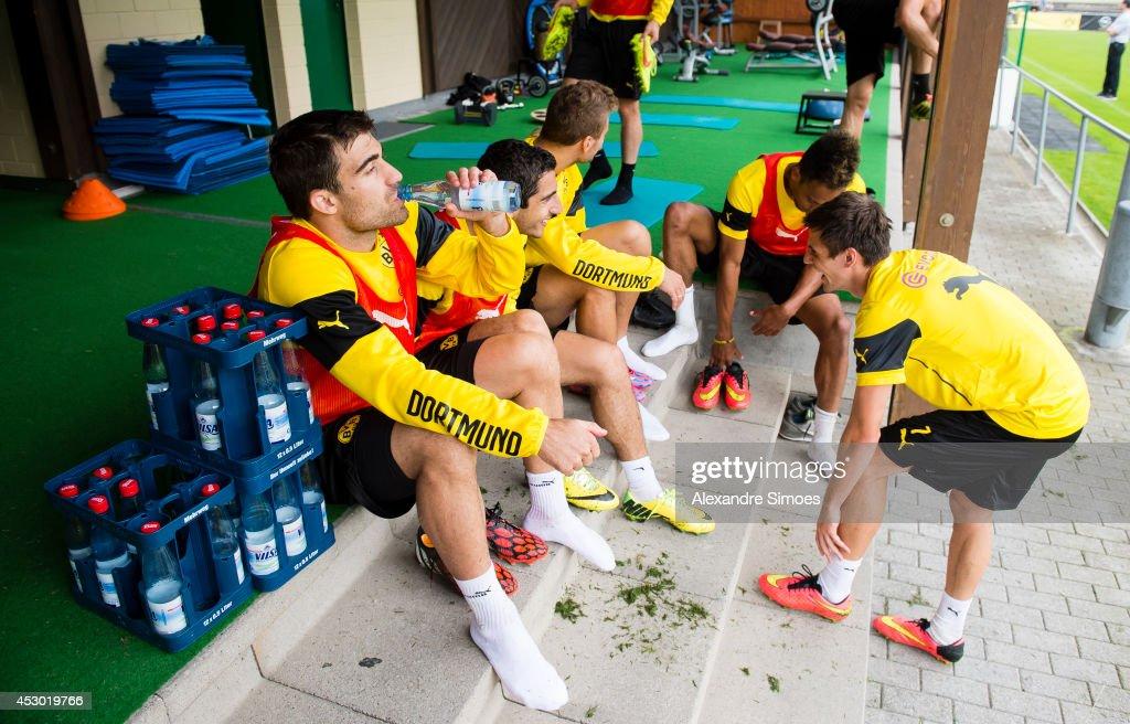 Sokratis Papastathopoulos (BVB) , Henrikh Mkhitaryan (BVB) and Jonas Hofmann (BVB) of Borussia Dortmund on August 1, 2014 in Bad Ragaz, Switzerland.