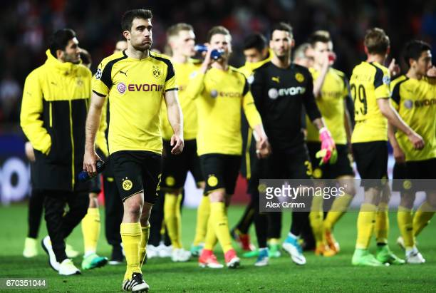 Sokratis Papastathopoulos of Borussia Dortmund is dejected after losing the UEFA Champions League Quarter Final second leg match between AS Monaco...
