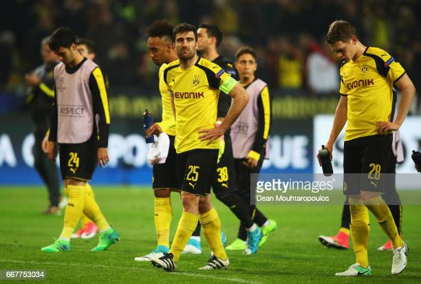 Sokratis Papastathopoulos of Borussia Dortmund looks dejected following the UEFA Champions League Quarter Final first leg match between Borussia...