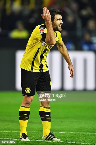 Sokratis Papastathopoulos of Dortmund gestures during the Bundesliga match between Borussia Dortmund and Bayern Muenchen at Signal Iduna Park on...