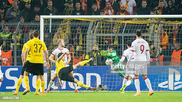 Sokratis Papastathopoulos of Dortmund scores their second goal during the UEFA Champions League Group D match between Borussia Dortmund and...