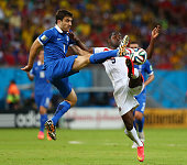 Sokratis Papastathopoulos of Greece challenges Joel Campbell of Costa Rica during the 2014 FIFA World Cup Brazil Round of 16 match between Costa Rica...