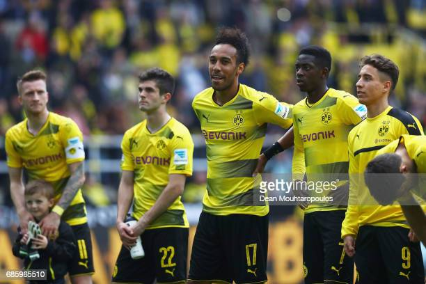 Sokratis Papastathopoulos Ousmane Dembele Christian Pulisic Raphael Guerreiro Nuri Sahin and PierreEmerick Aubameyang of Borussia Dortmund celebrate...