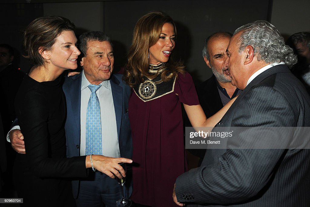Sol and Heather Kerzer with Alan Yentob and Sir Philip Green attend the London Evening Standard Influentials Party at Burberry on November 10 2009 in...