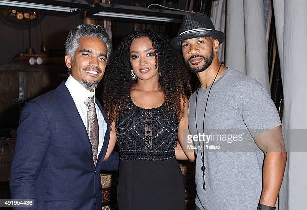 Sol Aponte Jennia Fredrique and Aaron D Spears attend The 'Sacred Heart' Exhibit at Voila Gallery on October 8 2015 in Los Angeles California