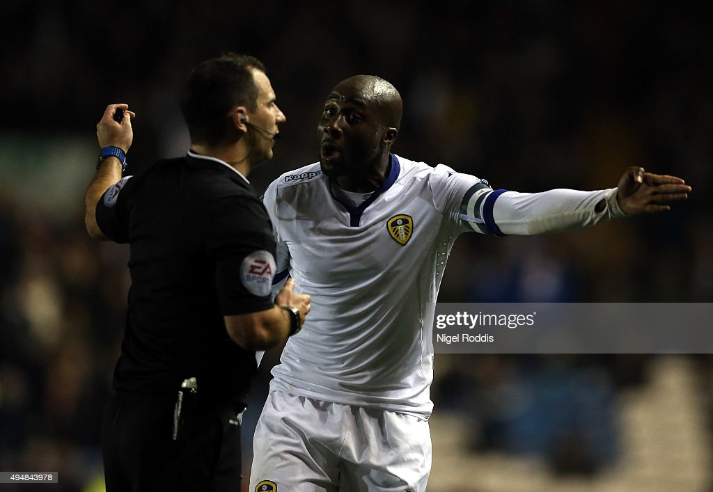 Sol Bamba of Leeds United gestures to referee Tim Robinson during the Sky Bet Championship match between Leeds United and Blackburn Rovers on October...