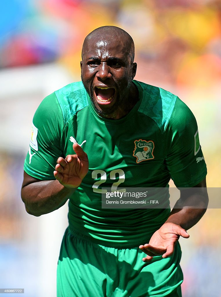 Sol Bamba of the Ivory Coast gestures during the 2014 FIFA World Cup Brazil Group C match between Colombia and Cote D'Ivoire at Estadio Nacional on...