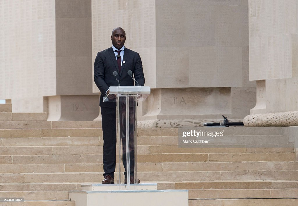 <a gi-track='captionPersonalityLinkClicked' href=/galleries/search?phrase=Sol+Campbell&family=editorial&specificpeople=160749 ng-click='$event.stopPropagation()'>Sol Campbell</a> gives a reading at a Commemoration of the Centenary of the Battle of the Somme at The Commonwealth War Graves Commission Thiepval Memorial on July 01, 2016 in Thiepval, France.