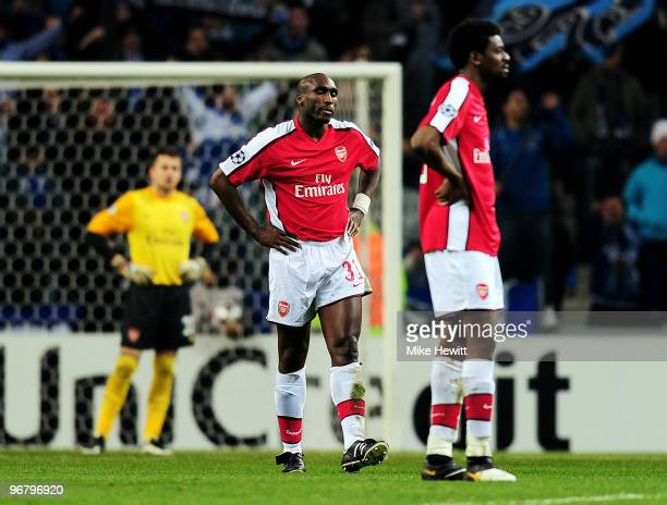 Sol Campbell of Arsenal looks dejected after his pass back to goalkeeper Lukasz Fabianski is given an indirect freekick which Falcao of Porto score...