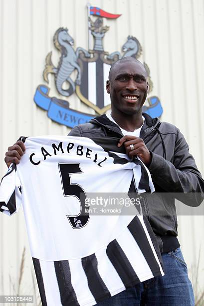 Sol Campbell poses with a Newcastle United shirt after signing for Newcastle United at The Little Benton training ground on July 28 2010 in Newcastle...