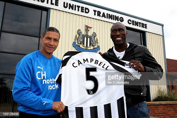 Sol Campbell poses with manager Chris Hughton after signing for Newcastle United at The Little Benton training ground on July 28 2010 in Newcastle...