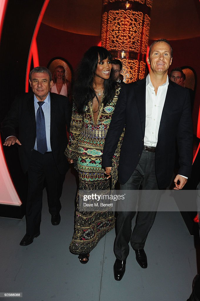 Sol Kerzner and model Naomi Campbell and boyfriend Vladislav Doronin attend the grand opening night of the Kerzner Mazagan Beach Resort on October 31...