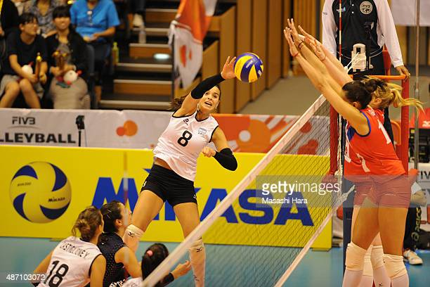 Sol Piccolo of Argentina spikes during the match between Argentina and Serbia during the FIVB Women's Volleyball World Cup Japan 2015 at Park Arena...