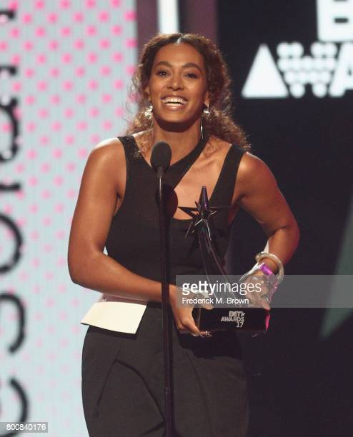 Solange accepts the Centric Award for 'Cranes In The Sky' onstage at 2017 BET Awards at Microsoft Theater on June 25 2017 in Los Angeles California