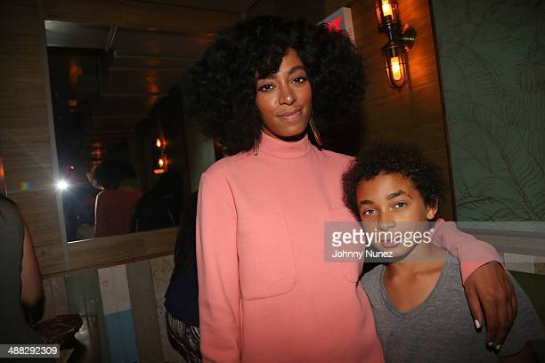 Solange and her son Daniel Julez Smith Jr attend the Solang And 14 Foundation Partnership Party at Baby's All Right on May 4 2014 in the Brooklyn...