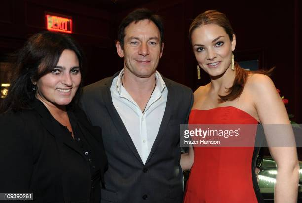 Solange AzaguryPartridge with actor Jason Isaacs and Cofounder and Executive Vice President of DKMS Katharina Harf pose at the Solange...