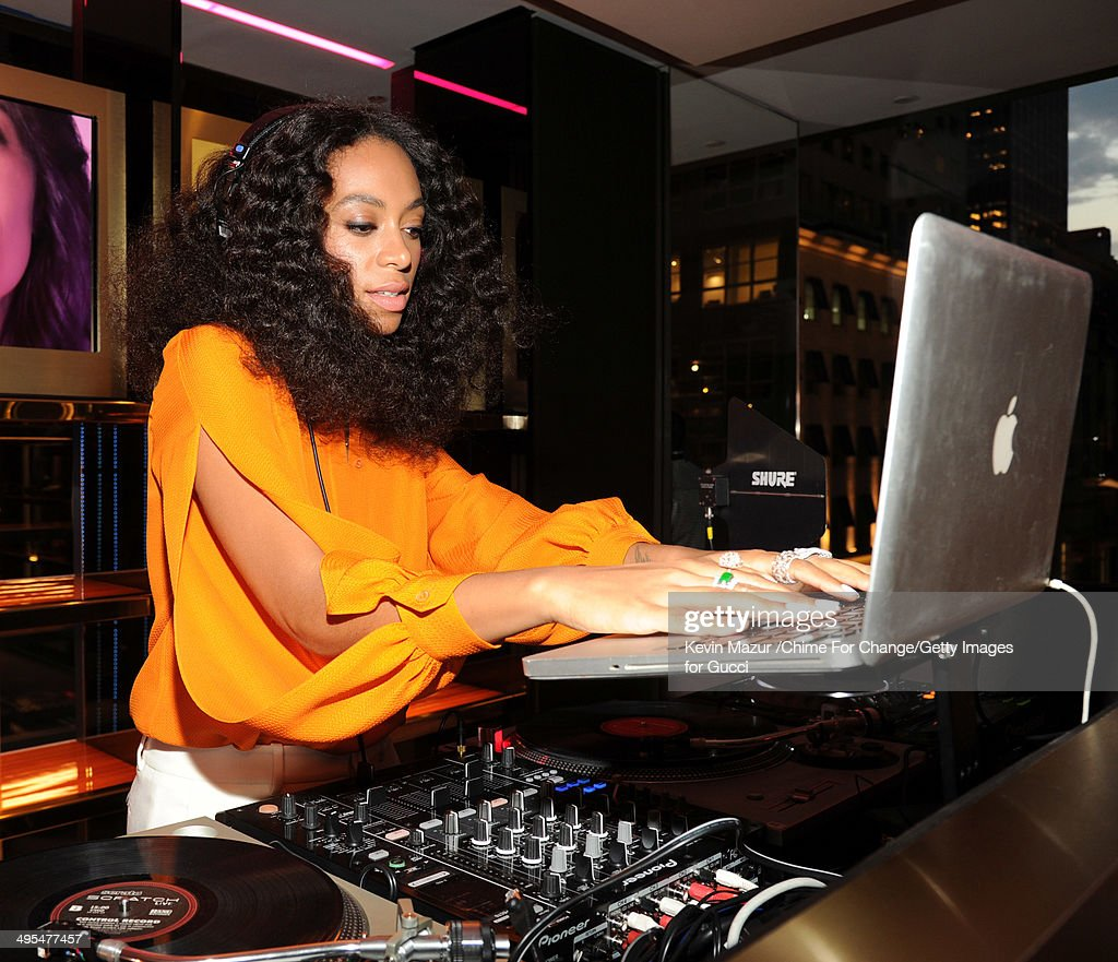Solange DJs at the CHIME FOR CHANGE One-Year Anniversary Event hosted by Gucci Creative Director Frida Giannini and T Magazine Editor-In-Chief Deborah Needleman at Gucci Fifth Avenue on June 3, 2014 in New York City.