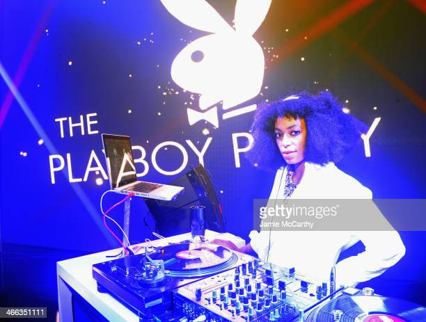 Solange in the Buffalo David Bitton DJ booth at The Playboy Party at The Bud Light Hotel Lounge on Friday January 31 2014 in New York City
