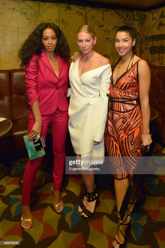 Solange, jewelry designer Jennifer Meyer and Hannah Bronfman attend the Gucci beauty launch event hosted by Frida Giannini on June 4, 2014 in New York City.