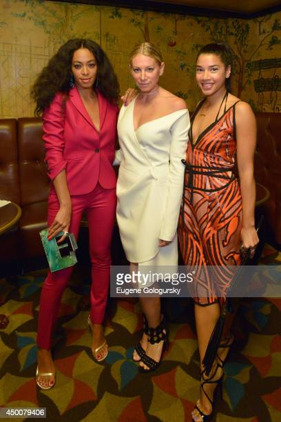 Solange jewelry designer Jennifer Meyer and Hannah Bronfman attend the Gucci beauty launch event hosted by Frida Giannini on June 4 2014 in New York...