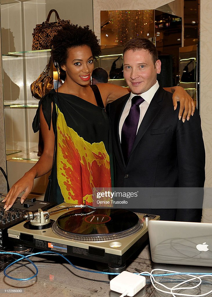 <a gi-track='captionPersonalityLinkClicked' href=/galleries/search?phrase=Solange+Knowles&family=editorial&specificpeople=221489 ng-click='$event.stopPropagation()'>Solange Knowles</a> and Cristiano Mancini attend Roberto Cavalli's 'Black Is Never Absolute' photo exhibit in the Roberto Cavalli store at Crystals at CityCenter on April 15, 2011 in Las Vegas, Nevada.