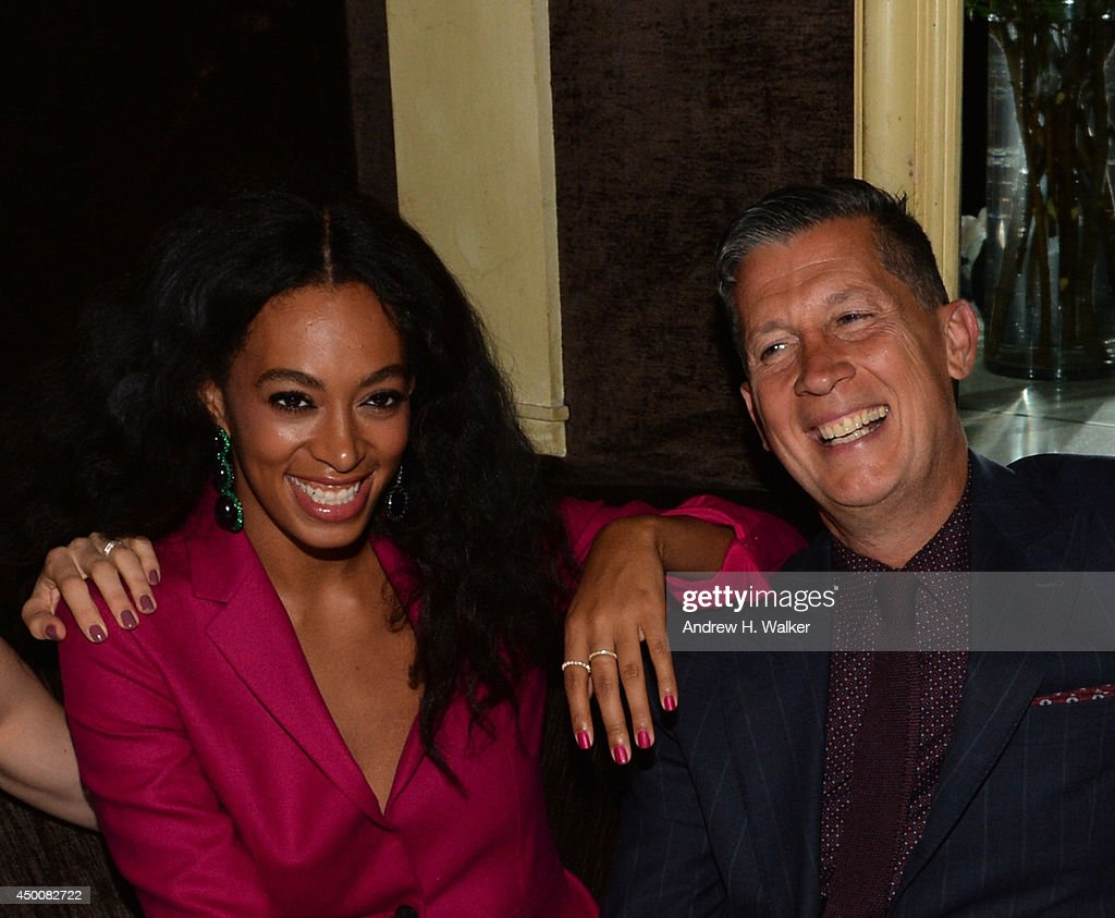 Solange Knowles (L) and editor in chief of W magazine, Stefano Tonchi attends the Gucci beauty launch event hosted by Frida Giannini on June 4, 2014 in New York City.