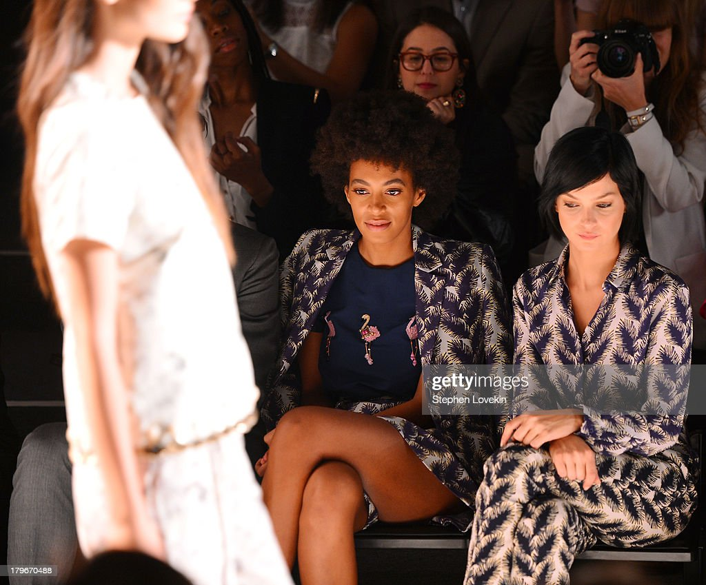 <a gi-track='captionPersonalityLinkClicked' href=/galleries/search?phrase=Solange+Knowles&family=editorial&specificpeople=221489 ng-click='$event.stopPropagation()'>Solange Knowles</a> (L) and <a gi-track='captionPersonalityLinkClicked' href=/galleries/search?phrase=Leigh+Lezark&family=editorial&specificpeople=618872 ng-click='$event.stopPropagation()'>Leigh Lezark</a> attend the Noon By Noor Spring 2014 fashion show during Mercedes-Benz Fashion Week at The Studio at Lincoln Center on September 6, 2013 in New York City.