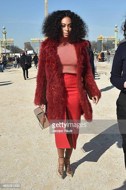 Solange Knowles arrives at Carven Fashion Show during Paris Fashion Week Fall Winter 2015/2016 on March 5 2015 in Paris France