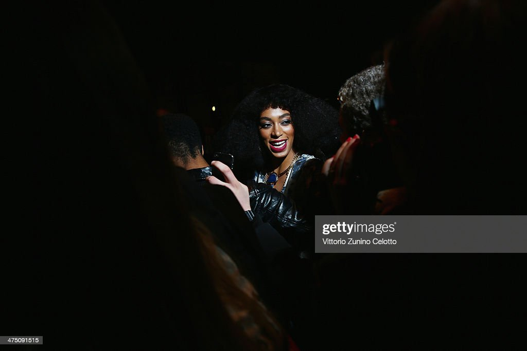 <a gi-track='captionPersonalityLinkClicked' href=/galleries/search?phrase=Solange+Knowles&family=editorial&specificpeople=221489 ng-click='$event.stopPropagation()'>Solange Knowles</a> arrives at the H&M show as part of the Paris Fashion Week Womenswear Fall/Winter 2014-2015 at Le Grand Palais on February 26, 2014 in Paris, France.