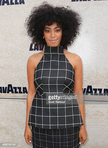 Solange Knowles arrives at the Lavazza Marquee on Derby Day at Flemington Racecourse on November 1 2014 in Melbourne Australia