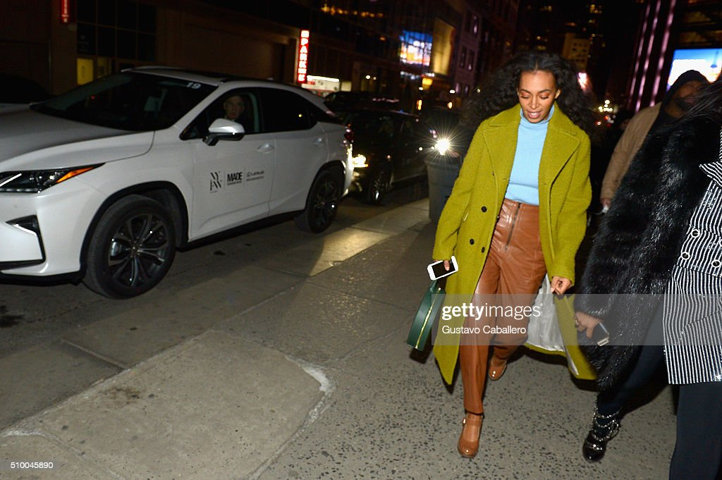 <a gi-track='captionPersonalityLinkClicked' href=/galleries/search?phrase=Solange+Knowles&family=editorial&specificpeople=221489 ng-click='$event.stopPropagation()'>Solange Knowles</a> Arrives in a Lexus to the Baja East Fall 2016 Fashion show during Day 3 of New York Fashion Week: The Shows at Skylight at Moynihan Station on February 13, 2016 in New York City.