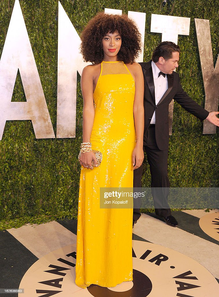 Solange Knowles attends the 2013 Vanity Fair Oscar party at Sunset Tower on February 24, 2013 in West Hollywood, California.