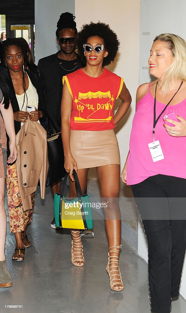 <a gi-track='captionPersonalityLinkClicked' href=/galleries/search?phrase=Solange+Knowles&family=editorial&specificpeople=221489 ng-click='$event.stopPropagation()'>Solange Knowles</a> attends the Alexander Wang fashion show during Mercedes-Benz Fashion Week Spring 2014 at Pier 94 on September 7, 2013 in New York City.