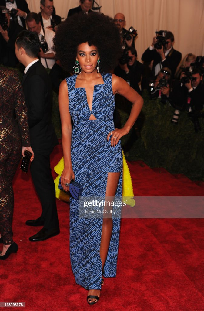 <a gi-track='captionPersonalityLinkClicked' href=/galleries/search?phrase=Solange+Knowles&family=editorial&specificpeople=221489 ng-click='$event.stopPropagation()'>Solange Knowles</a> attends the Costume Institute Gala for the 'PUNK: Chaos to Couture' exhibition at the Metropolitan Museum of Art on May 6, 2013 in New York City.