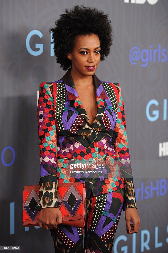 <a gi-track='captionPersonalityLinkClicked' href=/galleries/search?phrase=Solange+Knowles&family=editorial&specificpeople=221489 ng-click='$event.stopPropagation()'>Solange Knowles</a> attends the HBO premiere of 'Girls' Season 2 at the NYU Skirball Center on January 9, 2013 in New York City.
