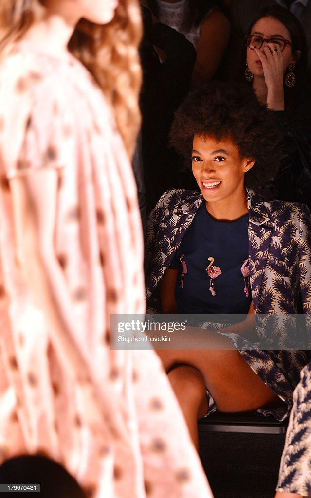 <a gi-track='captionPersonalityLinkClicked' href=/galleries/search?phrase=Solange+Knowles&family=editorial&specificpeople=221489 ng-click='$event.stopPropagation()'>Solange Knowles</a> attends the Noon By Noor Spring 2014 fashion show during Mercedes-Benz Fashion Week at The Studio at Lincoln Center on September 6, 2013 in New York City.