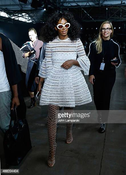 Solange Knowles attends the Phillip Lim collection during Spring 2016 New York Fashion Week at Pier 94 on September 14 2015 in New York City