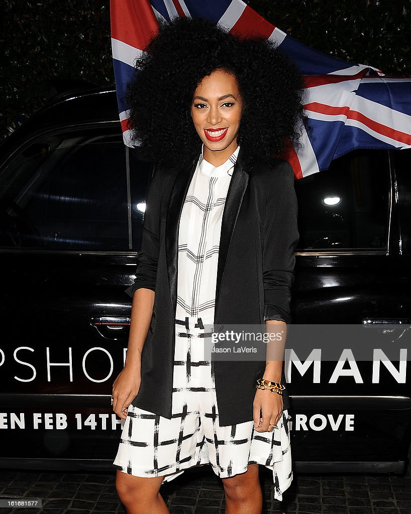 Solange Knowles attends the Topshop Topman LA flagship store opening party at Cecconi's Restaurant on February 13, 2013 in Los Angeles, California.