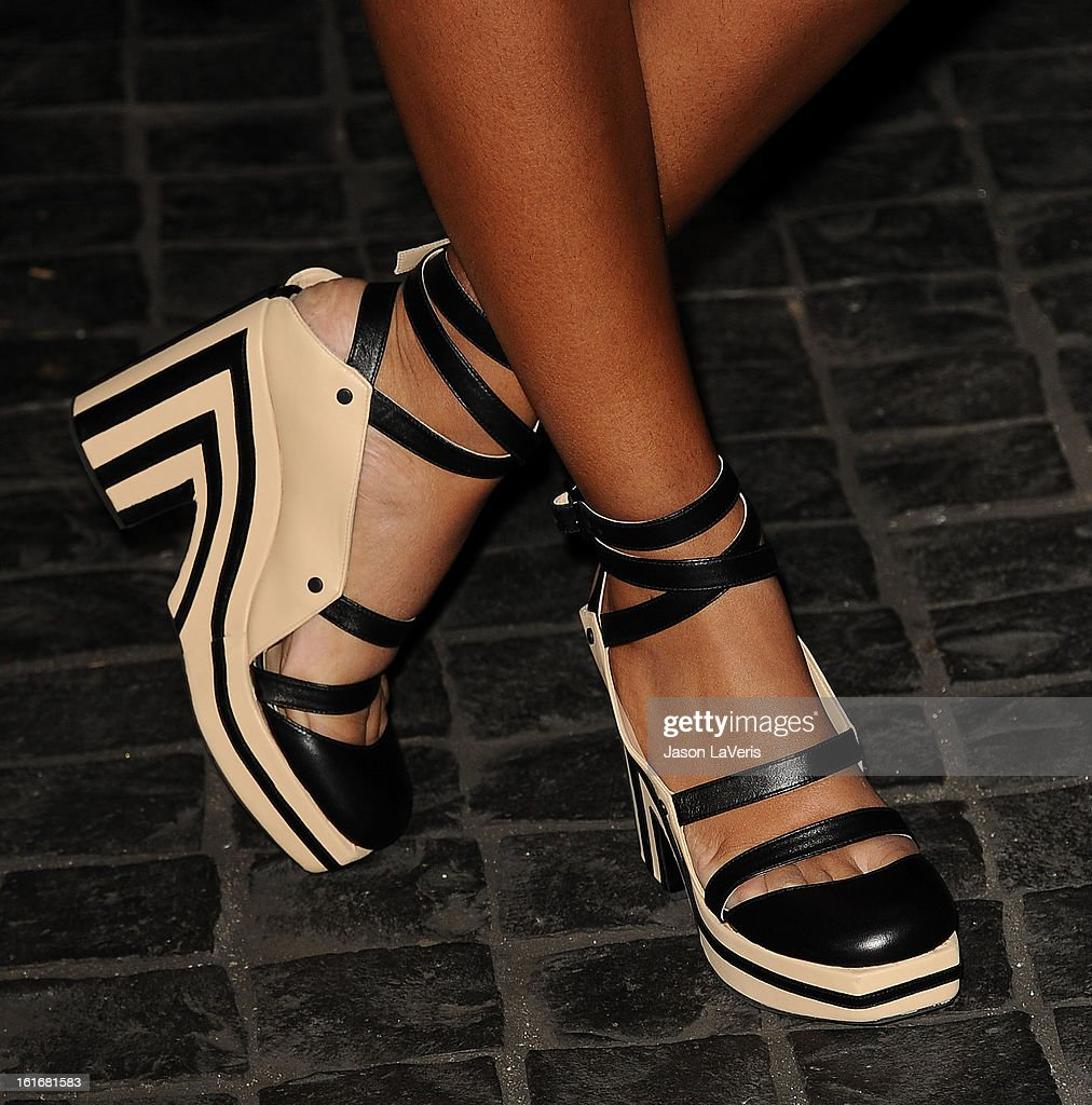 Solange Knowles (shoe detail) attends the Topshop Topman LA flagship store opening party at Cecconi's Restaurant on February 13, 2013 in Los Angeles, California.