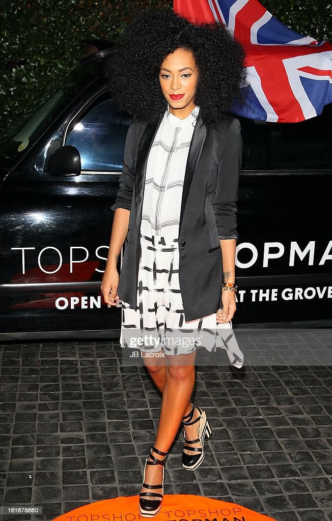 Solange Knowles attends the Topshop Topman LA Opening Party held at Cecconi's Restaurant on February 13, 2013 in Los Angeles, California.