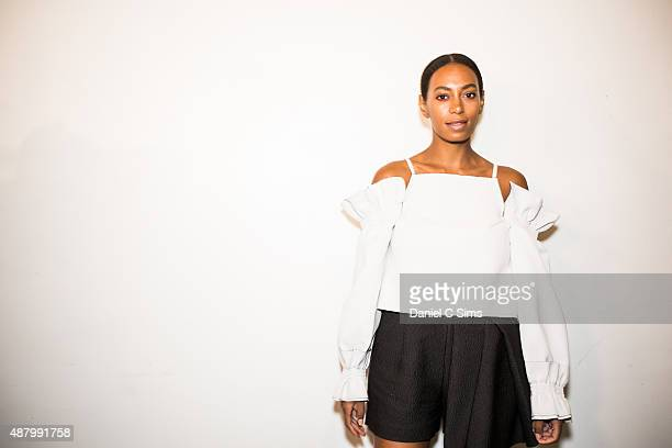 Solange Knowles backstage at the Jill Stuart SS16 show part of New York Fashion week at Industria Studios on September 12 2015 in New York City